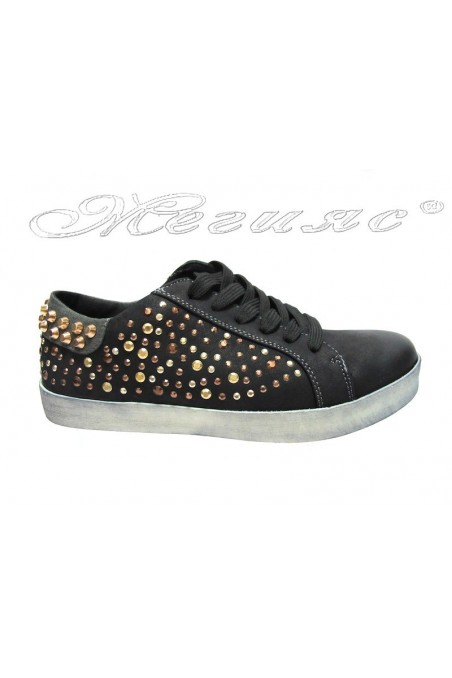 Women sport flat shoes 25002-34 black with caps