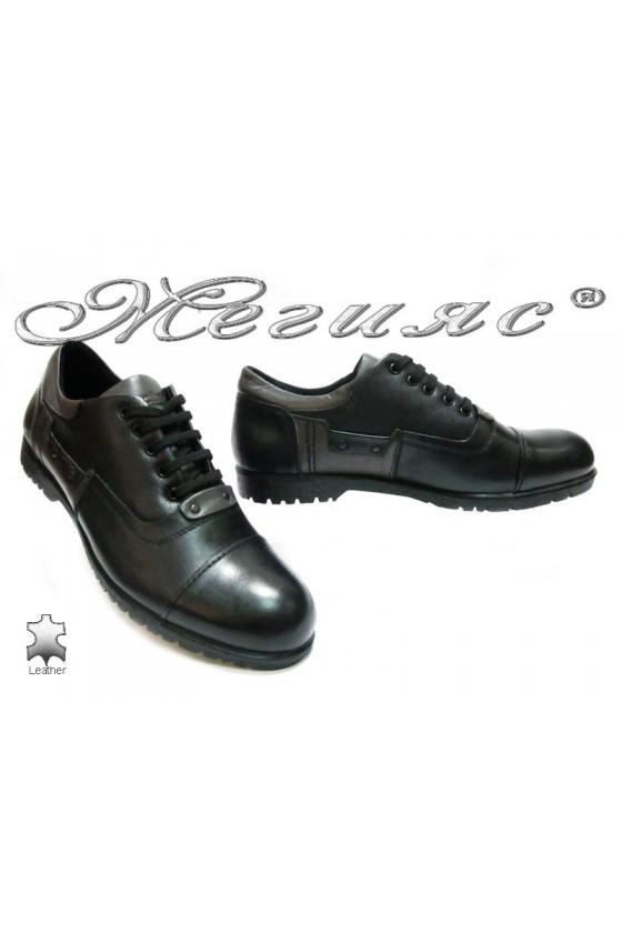 Мъжки обувки 4550 черни естествена кожа