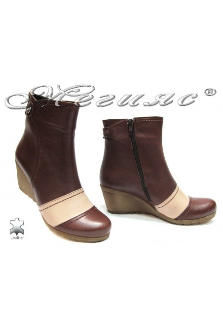 Lady boots114 brown+beige
