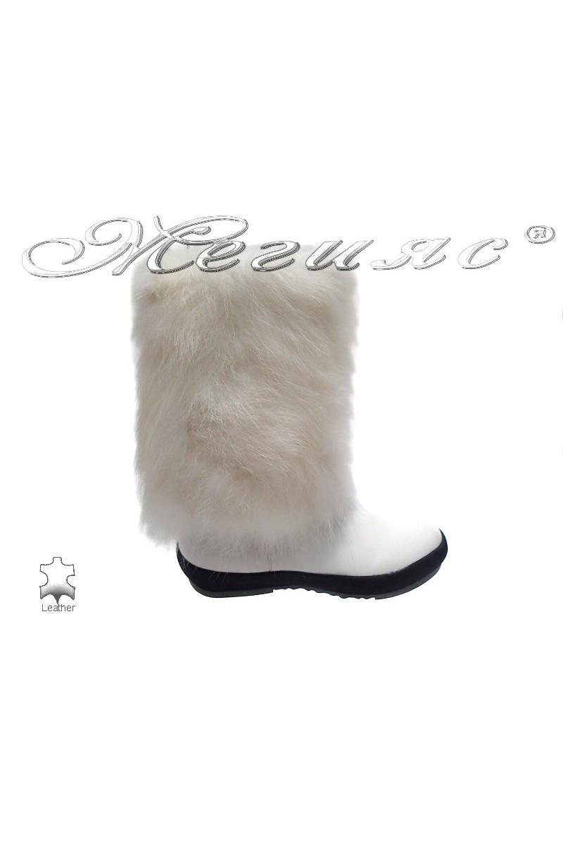 Дамски апрески бели естествена кожа+естествен пух fur 114