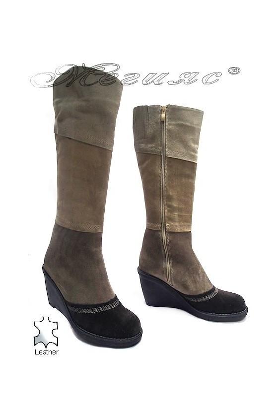 Дамски ботуши 3316 beige/brown естествен велур