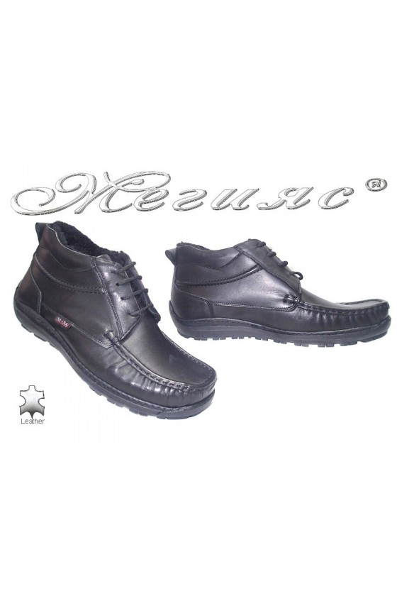 Мъжки боти XXL Sensato 03 черни естествена кожа