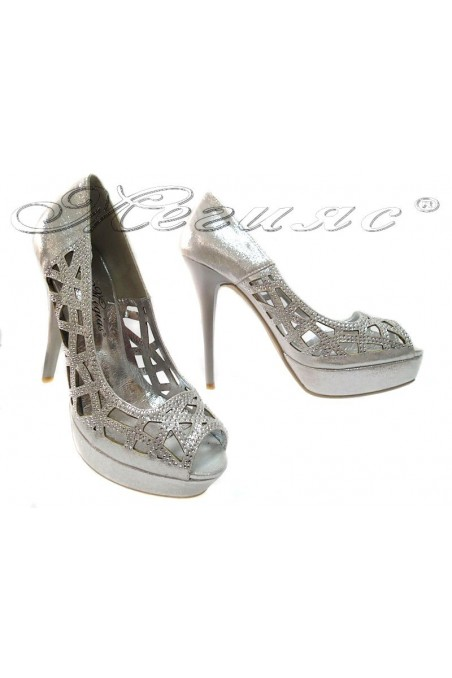 Lady elegant shoes 114-410 silver high heel