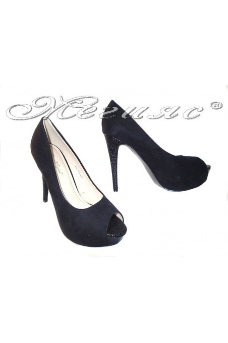 Women elegant shoes 114-443 black suede high heel