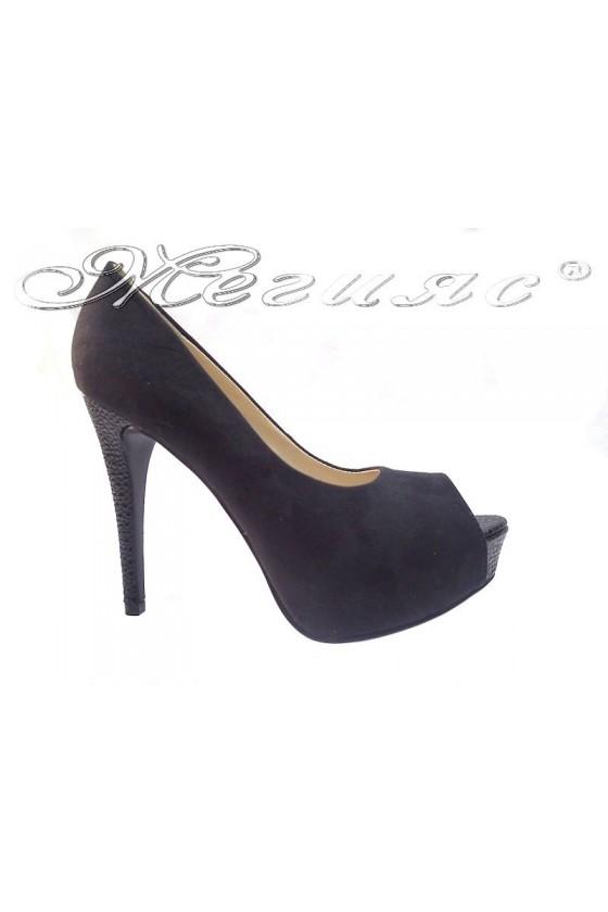 Women elegant  shoes 114-443 black suede high heel