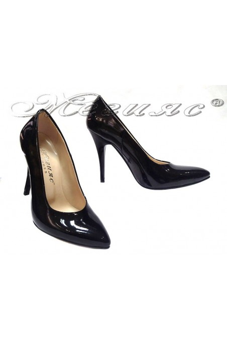 Women elegant shoes 162 black patent high heel