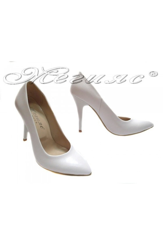Ladies elegant shoes 162 white high heel pu