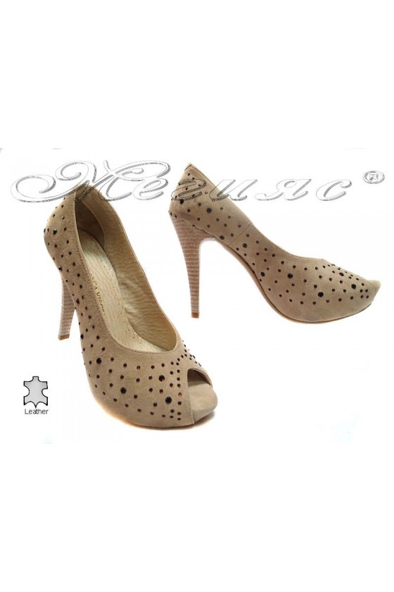 Women elegant shoes 029 beige suede leather high heel