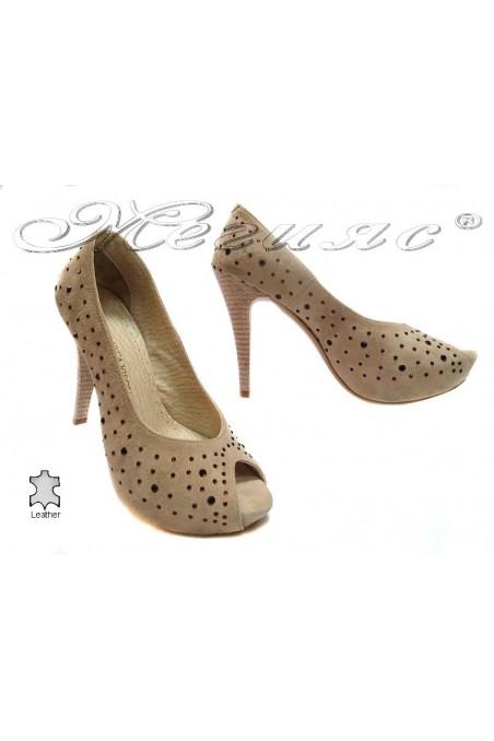 Women elegant shoes 029 beige suede leather high heel