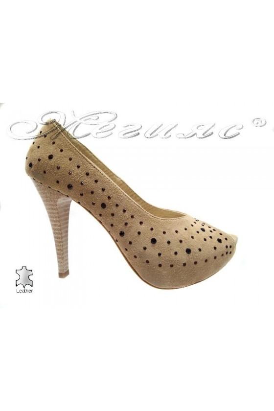 Дамски обувки 029 бежови елегантни платформа без пръсти висок ток  естествен велур
