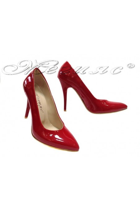 Women elegant shoes 162 red patent high heel