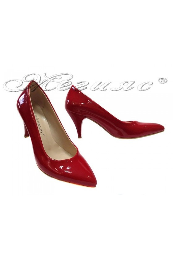 Women shoes 117 red patent low heel