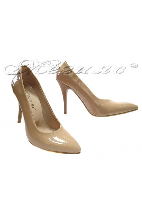 Ladies elegant shoes 162 beige patent high heel