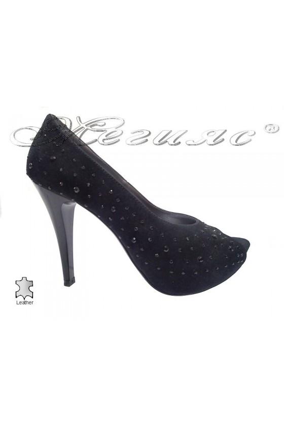 Women elegant  shoes 029 black suede leather high heel