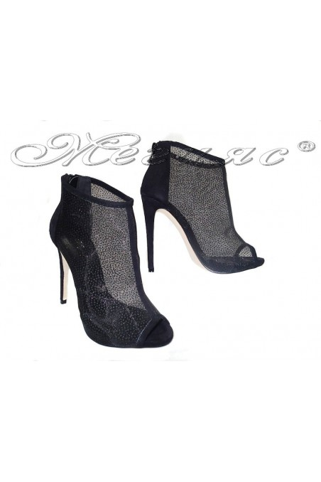Women summer boots 114-442 black lattice with stones high heel