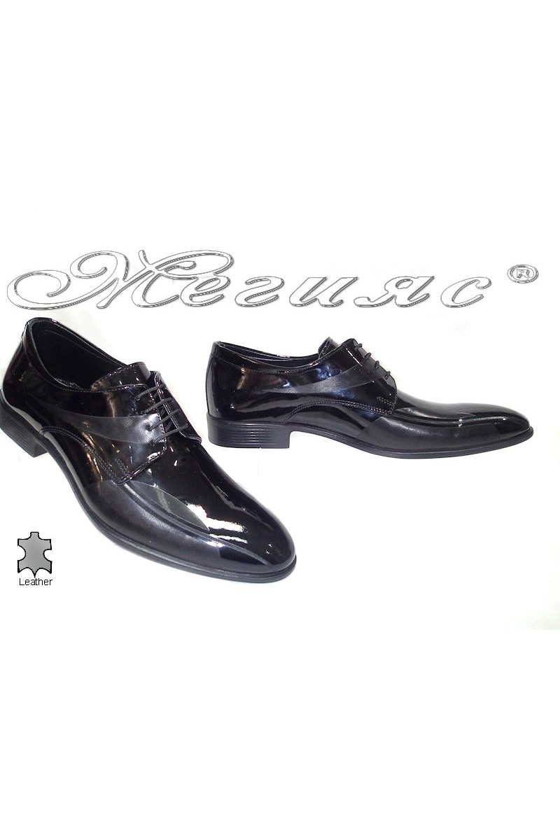 Мъжки обувки Фантазия 6001 черно-лак естествена кожа