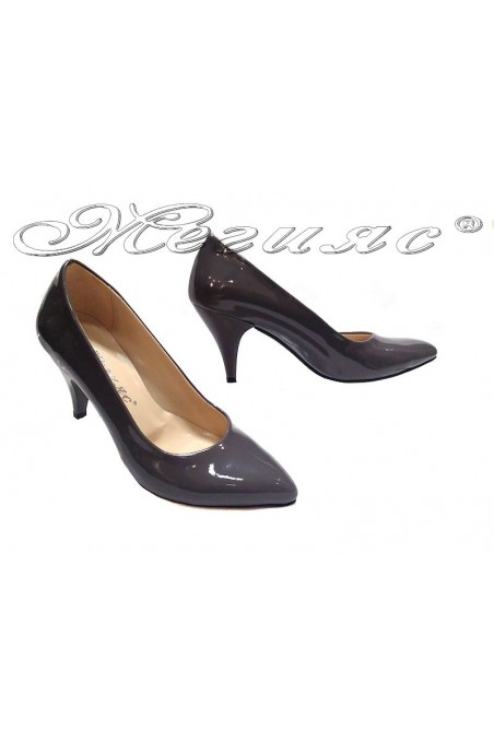 Women elegant shoes 117 grey low heel pu