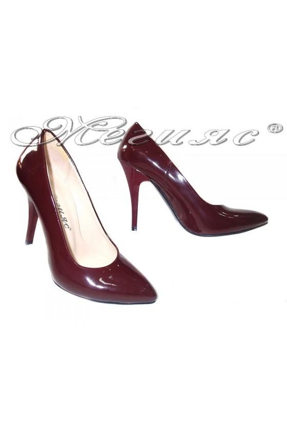 Ladies elegant shoes 162 wine patent high heel