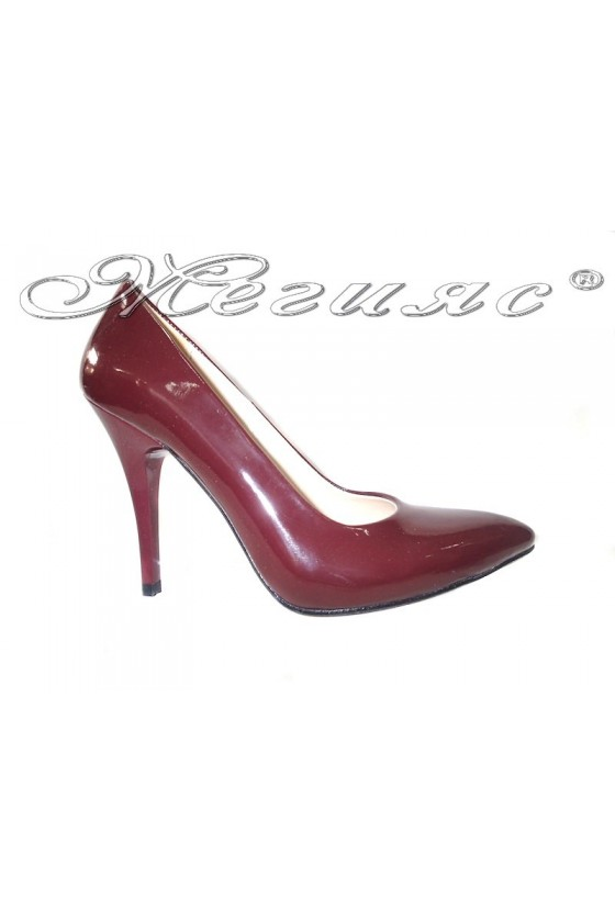 Дамски обувки 162 бордо лак елегантни остри висок ток