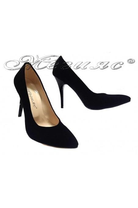 Дамски обувки 162 черни набук елегантни остри висок ток