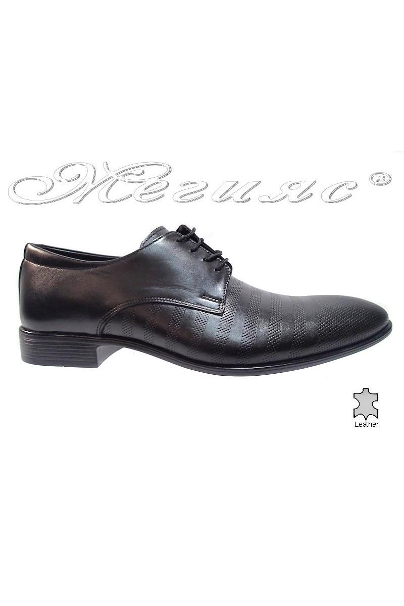 Мъжки обувки Фантазия 6001-210 черно мат естествена кожа