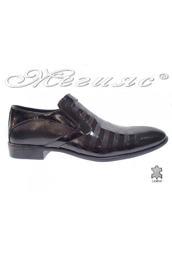 Мъжки обувки Фантазия 6002-210 лак черно естествена кожа