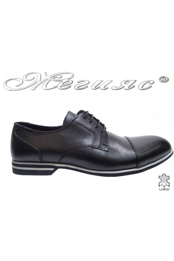 Мъжки обувки Sharp 913 черни от естествена кожа