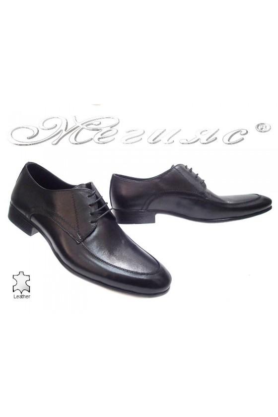 Мъжки обувки Sharp 815 черни от естествена кожа
