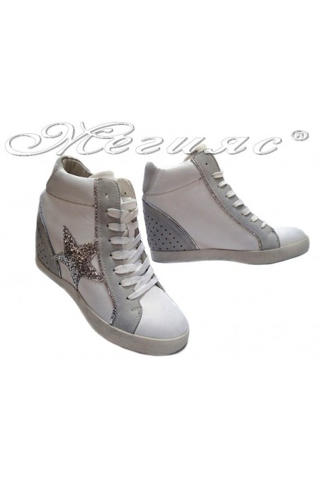 Women sport shoes 26840-3 white+ grey platform