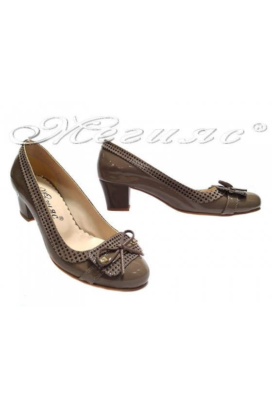 Ladies middle heel shoes 021 casual beige patent+pu