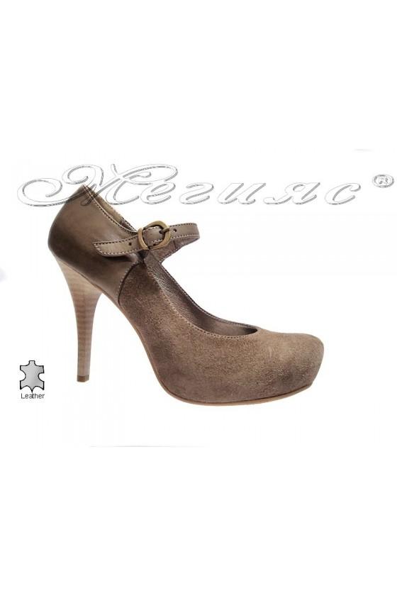 Lady elegant  shoes 418 beige suede leather high heel