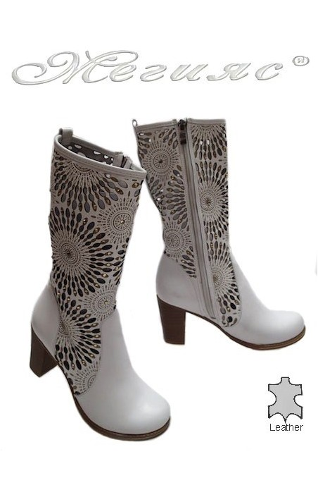 Lady summer boots 760 white leather with average heel