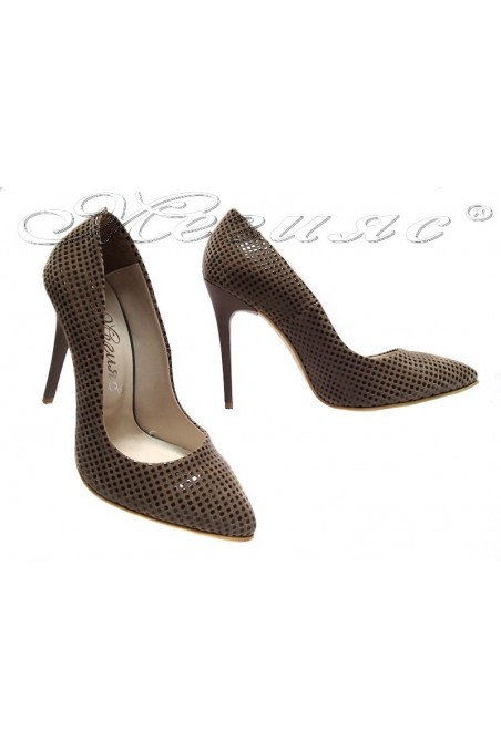 Women elegant shoes 1907 beige suede high heel