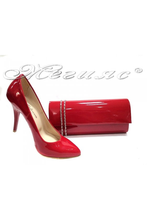 Shoes 162red+bag 373 red