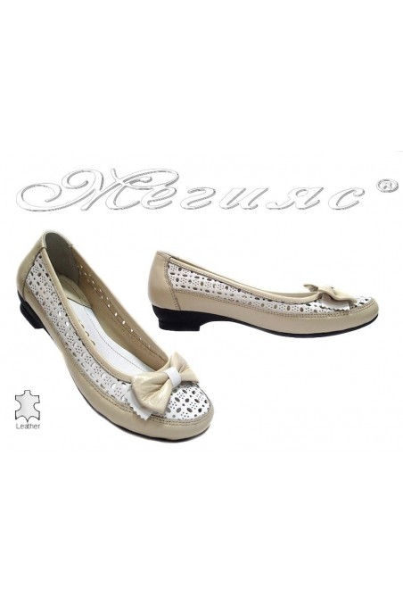 Ladies low heel shoes 335 casual beige+white all leather