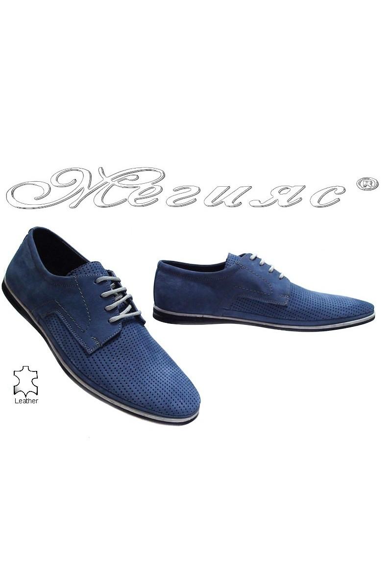 Мъжки обувки Фантазия 027-025 сини набук естествена кожа