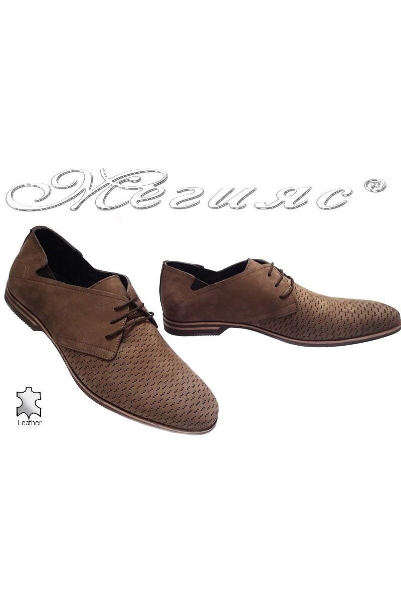 Мъжки обувки Фантазия 6175 кафяви набук естествена кожа