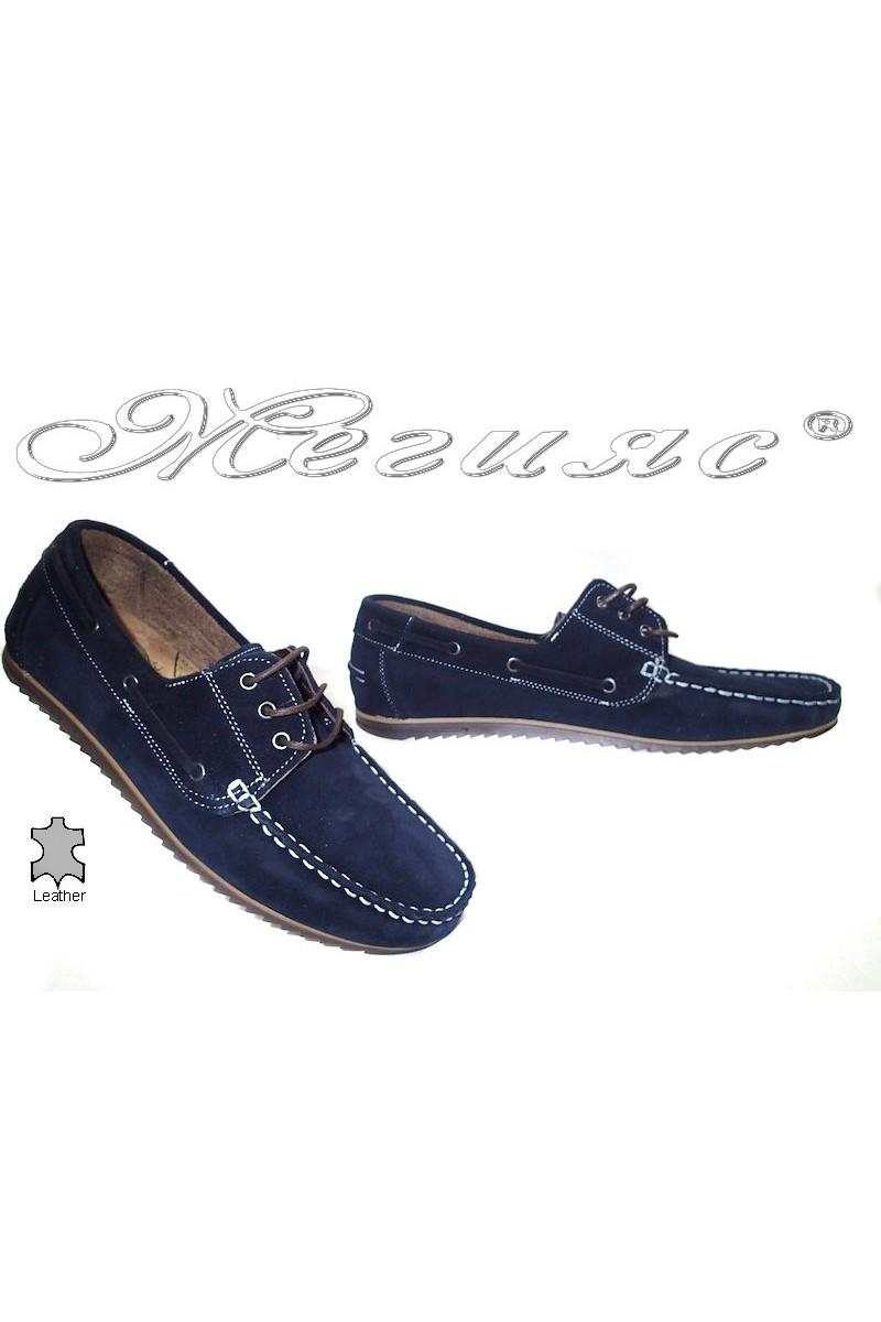 Мъжки обувки Sens.04 сини естествен велур