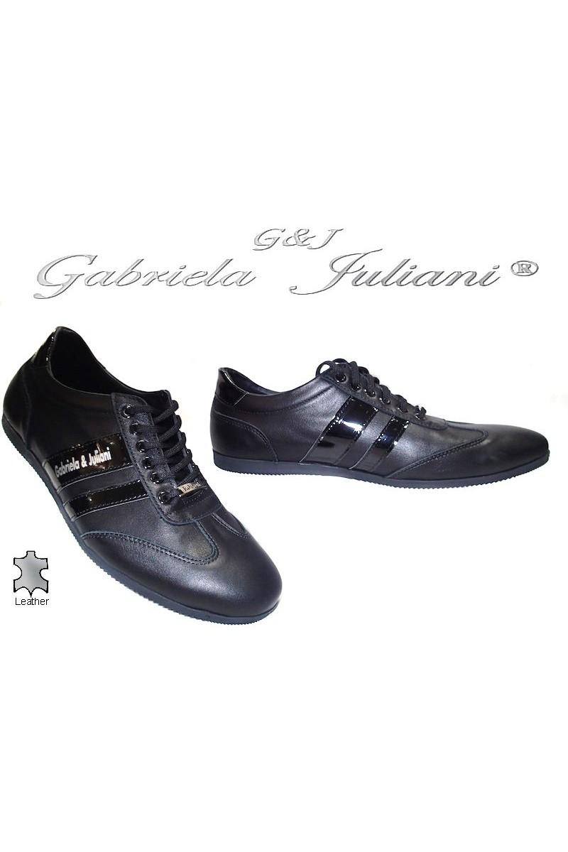 Мъжки обувки 1003-04 черни мат естествена кожа