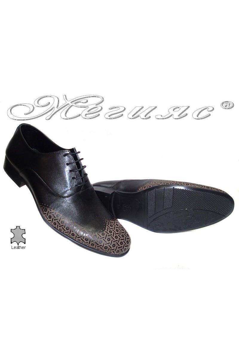 Мъжки обувки Sharp 805 черни+бежово  естествена кожа