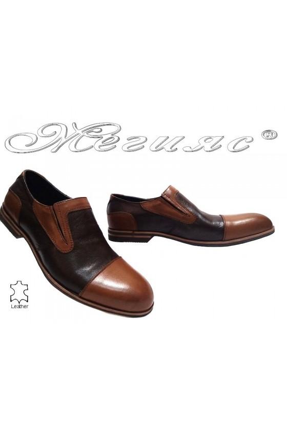 Мъжки обувки Sharp 914 кафяви естествена кожа