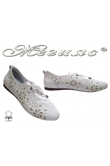 Lady flat shoes 101 white leather with relations