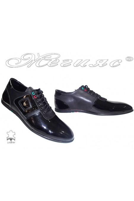 Мъжки обувки Фантазия 6126 черни+лак естествена кожа