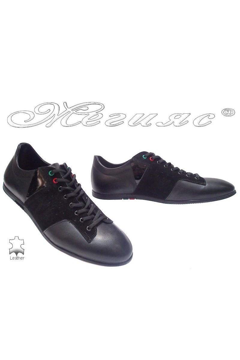 Мъжки обувки Фантазия 6127 черни кожа+велур естествена кожа
