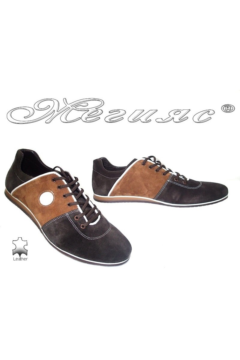Мъжки обувки Фантазия 6281 кафяви велур естествен велур