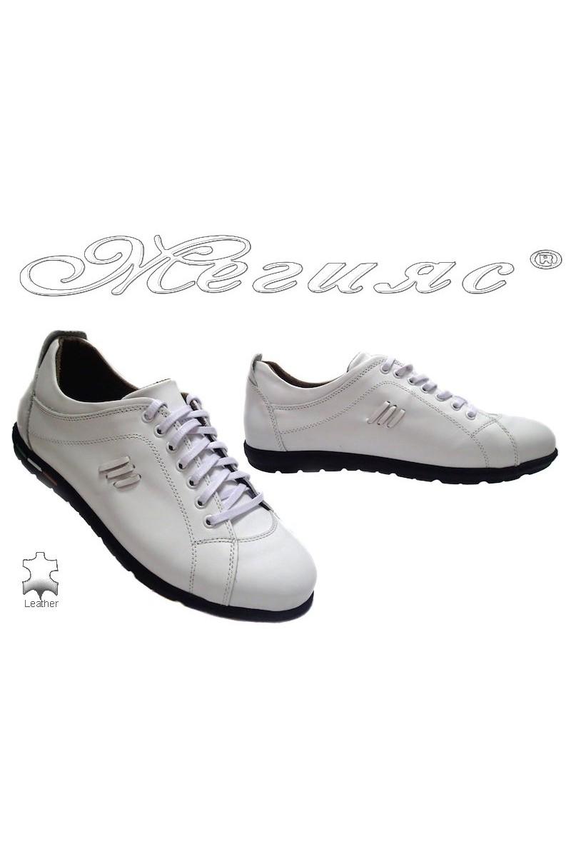 Мъжки обувки XXL 05 бяло естествена кожа