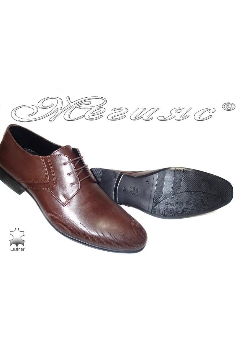 Мъжки обувки Sharp 811 тъмно кафяв естествена кожа