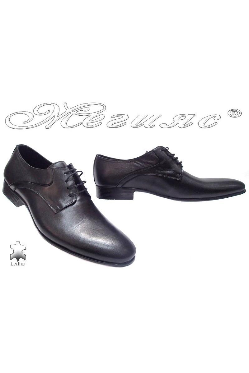 Мъжки обувки Sharp 801 черни естествена кожа