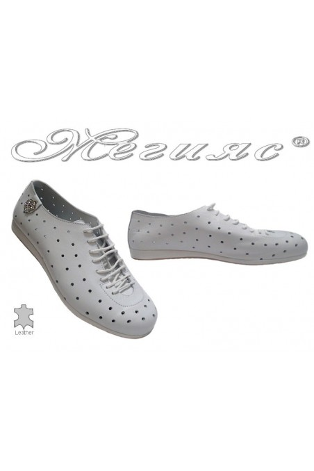 Lady sport shoes 3116 white leather with holes