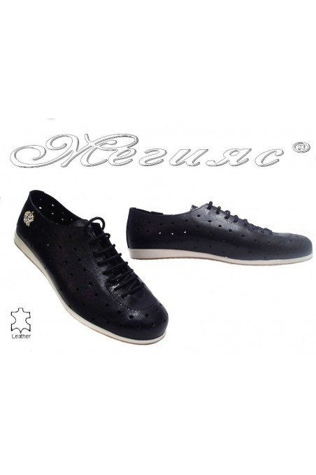 Lady sport shoes 3116 black leather with holes